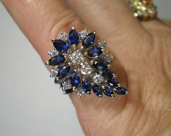 Vintage 14 kt White Gold Blue Sapphire Diamond Cocktail Spray Cluster Ring Size 6.5