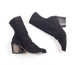 Low heel shoes, Black leather heels, Mid calf boots