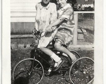 Old Photo 2 Girls on Tricycle wearing Dresses Shadow 1920s Photograph snapshot vintage