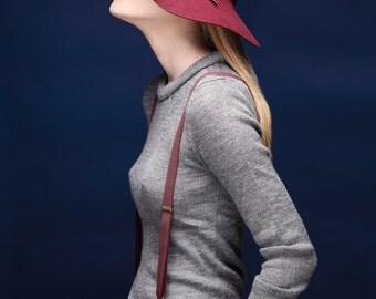 Women Fedora Hat In  Bordeaux , Floppy Winter Hat , Felt Hat For Women , Wide Brim Fedora Hat , Womens Hat