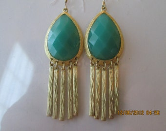 Gold Tone and Turquoise Teardrop Earrings with Gold Tone Charm Dangles