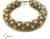 Hand Woven 6mm Taupe Czech Glass Pearl Bracelet with matching Toho seed beads, metallic accent beads, silver magnet clasp