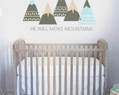 Let Him Sleep Wall Decal Set - he will move mountains - Woodland Outdoor VINYL Wall Decor