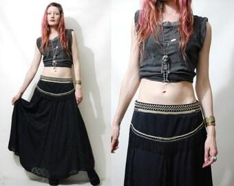 80s Vintage GYPSY SKIRT Fringe Black Lace Metallic Gold Long Belly Dance Flare Panel Tassel Skirt Witch Bohemian Boho Hippie 1980s vtg M L