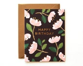 Magnolia Birthday Card - Black