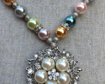 Pearl Necklace, Chunky Necklace, Statement Necklace, Chunky Pearls, Metallic Necklace