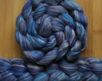 "Merino Silk 'GLISTEN Roving' in ""Unicornia"" colorway - True blue, purple, royal blends - Spinning Felting Braid Fiber"