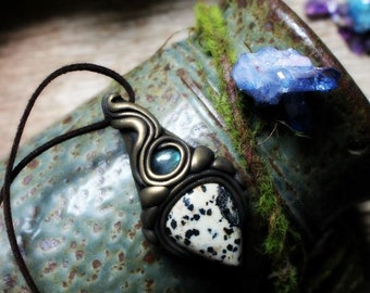 Handcrafted Labradorite and Dalmation Jasper. Spirit Shift necklace. Handcrafted Clay & Gemstone Pendant.