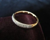 14k Diamond Ring Channel Band Diamonds Solid Gold Fourteen Karat Size 6 3/4 Never Worn