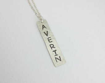Bar Necklace, Vertical, Name Charm, Hand Cut, Hand Hammered, Hand Stamped, Sterling Silver, Gold Fill
