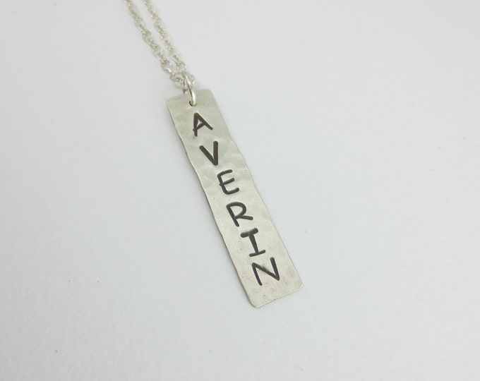 Personalized Vertical Bar Necklace - Monogram Necklace - Name Charm - Hand Cut - Hand Hammered - Hand Stamped - Sterling Silver - Gold Fill