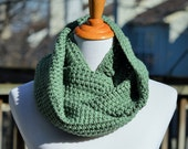 Crochet Textured Infinity Scarf - Sage Green