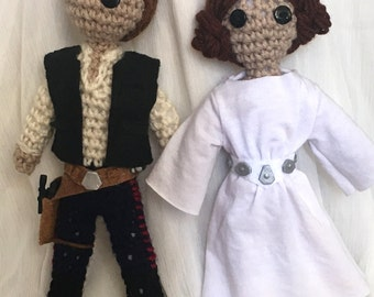 Han Solo & Princess Leia Inspired Crocheted doll pair