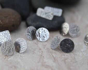 Embossed Sterling Silver Stud Earrings