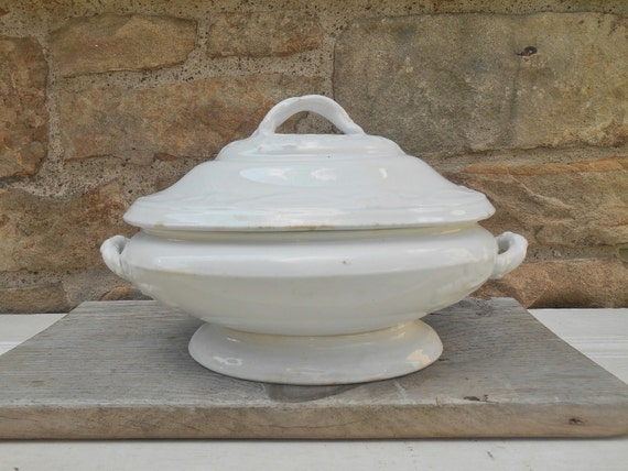 Antique White Ironstone Serving Dish With Lid Tureen By Swansdowne