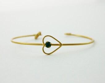 Emerald Heart Cuff Bracelet