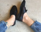 Oxford Black Leather 70s Colorblock Lace Up Flats Granny Shoes // Women's size 6 5.5