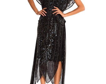 Vintage Early 1920s Beaded Dress with High Cut Sides  Size: XS/S/M