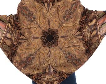 Vintage 1970s Boho Ethnic Paisley Print Cocoon Jacket  One Size