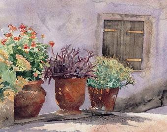 Three glorious pots, Watercolour Giclée print