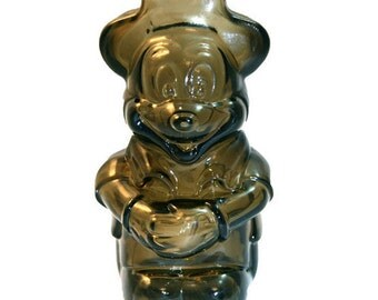 1950s MICKEY MOUSE BANK Brown Glass Disney Mickey Mouse Club Piggy Bank Walt Disney Productions