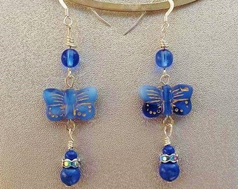 Lapis and Glass Butterfly Earrings on Silver