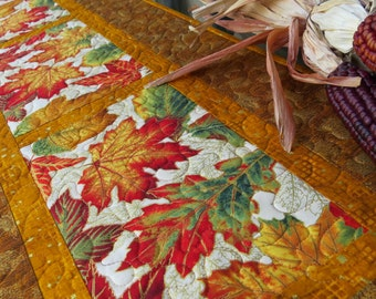 Quilted Fall Table Runner Quilt Autumn Leaves Gold 493