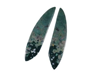 Ocean Jasper Smooth Long Teardrop Earring Beads, 11x46mm Gemstone, Teal Evergreen Red White Amber Beads, Dangle Earring Beads
