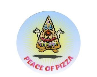 Peace of Pizza round weatherproof sticker