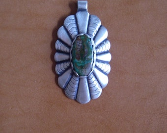 Sterling silver concho pendant with turquoise
