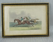 Antique Small Etching with Hand Colored Horse Racing J.F.Herring E.Hacker The High Mettled Racer Plate 5