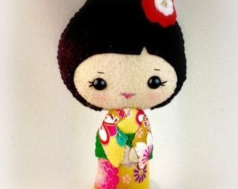 Gold Floral Kimono Felt Doll
