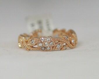 14 Karat Rose Gold Ornate Open Cut Flower Designed Diamond Band//Spring//Unique//Wedding