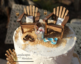 Beach Theme Wedding COMPLETE Cake Topper Classic Adirondack Chairs & Flip Flops  INCLUDES Mr. and Mrs. PILLOWS - by Landscapes In Miniature