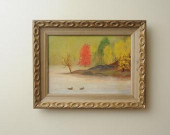 Original Oil Painting Ducks Pond Autumn Landscape SIGNED