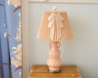 Mid Century Pottery Lamp Pink Great Vintage Shade