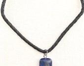 Gift idea For Men Under 40, Lapis Lazuli Pendant Leather Necklace