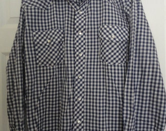 Blue Gigham Plaid Western 60s 70s Era  Cotton Button Shirt Size Mens Extra Large XL 17 1/2 / 35 by Malco Modes San Francisco