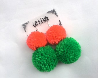 Handmade Two-Tone Pom Pom Earrings - Choose Your Color(s) - Lightweight