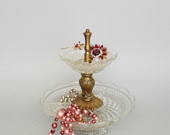 Jewelry Stand, Custom Two Tier Glass Brass Decorative Jewelry Stand Display, Jewelry Display Stand, Jewelry Box