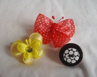 Pet Butterfly & Button Top Knot Set - Yellow Red and Black Pet Set - Dog or Cat Collar Decoration - Leash Flower - Groomer Bows and Flowers