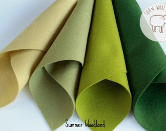 "Pure Wool felt sheets in shades of green, 100% wool felt fabric bundle  (8"" x 12""), 1 - 1,2mm, 8 x 12 sheets, Ships from Ireland"