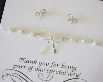 6 Bridesmaid Gift Tie the Knot Bow Bracelets Pearl and Earring Set, Silver Bow Earrings, Knot Bracelet, Thank you card, Pearl, Small Post