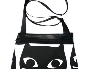 Black cat head, black vinyl, cross body, vegan leather, zipper top