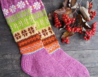 Hand Knitted Pattern Socks - Womens Wool Socks-Long Socks-Size Large-US W 10-10,5,EU 42
