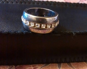 Silver Tone / Stainless Steel Crystal Ring  Size 6 1/2