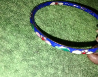 Cloisonne Bracelets  Blue And Green Floral Enameled Bangle Bracelets 3 Total