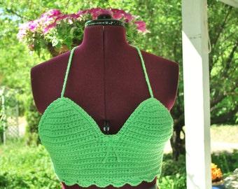 Green Scallop Edge Crochet Summer-halter-bralette-crop- Top