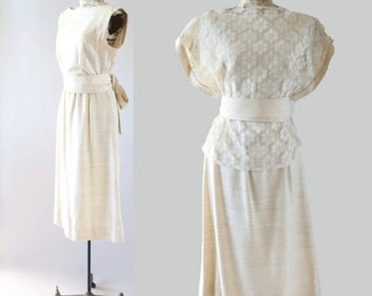 vtg 70s cream 3pc lien floral Crochet lace boho festival BOW party midi dress M