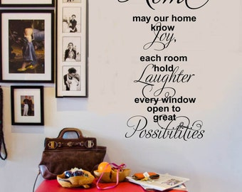 HOME May it know Joy Laughter Possibilities - Family Vinyl Wall Decal -  Entryway Vinyl Lettering 39+ Colors